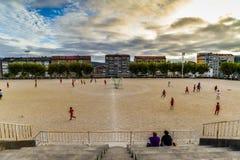 Fotbollövning i Vigo - Spanien arkivfoton