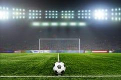 Fotboll bal På stadion Royaltyfria Bilder