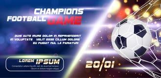 Fotboll eller bred baner- eller reklambladdesign för fotboll med bollen 3d på guld- blå bakgrund Ögonblick för mål för match för  vektor illustrationer