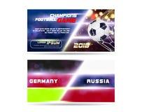 Fotboll eller bred baner- eller reklambladdesign för fotboll med bollen 3d på guld- blå bakgrund Mål för match för flaggor för fo royaltyfri illustrationer
