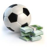 Fotboll- eller fotbollboll och packar av euro på vit Spo stock illustrationer