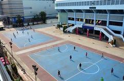 Fotboll- eller fotbollfält på stadion på Thailand Arkivbild
