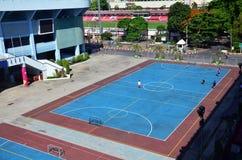 Fotboll- eller fotbollfält på stadion på Thailand Royaltyfri Foto