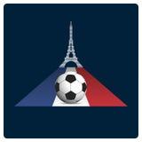 Fotboll- eller fotbollFrankrike euro 2016 Symbolsdesign stock illustrationer
