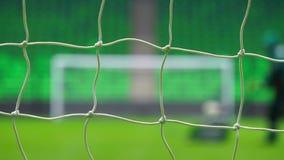 Fotboll- eller fotbollmål till och med det netto Ryssland världscup stock video
