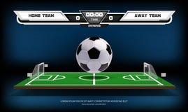 Fotboll- eller fotbollspelplanen med infographic beståndsdelar och 3d klumpa ihop sig modig sport Fotbollsarenastrålkastare och royaltyfri illustrationer
