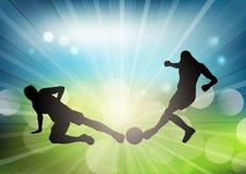 Fotboll eller fotbollsspelarekonturer på defocussed bakgrund royaltyfri illustrationer