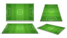 Fotboll europeiskt fotbollfält i olik punkt av perspektivsikten Isolerad vektorillustration stock illustrationer