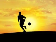 fotboll för 2 silhouette Arkivfoton