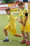 fotboll för barn s Fotografering för Bildbyråer