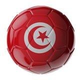 fotboll för burning exponeringsglas för aquaboll flagga tunisia arkivbild