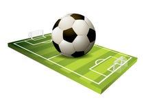fotboll för fält 3d Royaltyfri Fotografi