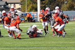 Fotboll för högskolaNCAA DIV III Arkivfoto