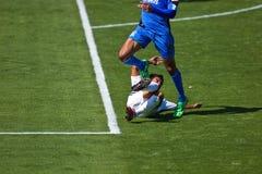 fotboll för la för jordskalvgalaxlek vs Fotografering för Bildbyråer