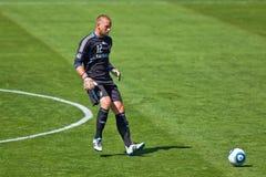 fotboll för la för jordskalvgalaxlek vs Arkivfoton