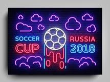 Fotboll 2018 för neonreklambladkopp i Ryssland Mall 2018 affisch, ljusa baner, neontecken för grafisk design för fotbollkopp Arkivfoto