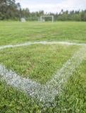 fotboll för pitch för green för gräs för hörnfältfotboll arkivbild