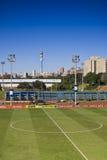 fotboll för pitch för mittcirkel arkivfoto