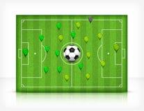 Fotboll (fotboll) sätter in med klumpa ihop sig Fotografering för Bildbyråer