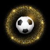 Fotboll-/fotbollboll på glittery guld- bakgrund Arkivfoto