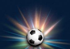 Fotboll-/fotbollboll på starburstbakgrund Royaltyfri Fotografi