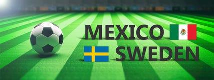 Fotboll fotbollsmatch, Mexico vs Sverige, illustration 3d royaltyfri illustrationer