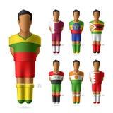 Fotboll/fotbollsspelare i nationsflaggaunifor stock illustrationer
