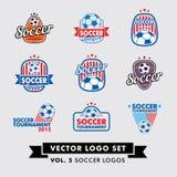 Fotboll fotbollvektor Logo Set Royaltyfri Fotografi