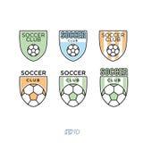 Fotboll fotbollvektor Logo Set Arkivbild