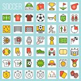 Fotboll fylld symbolsuppsättning stock illustrationer