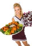 Fotboll: Hejaklacksledare Holding Tray Of Chicken Wings arkivfoto