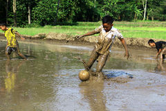 Fotboll i gyttjan Royaltyfri Foto