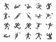 Fotboll i handlingsymbolsuppsättning Inklusive symboler som fotbollsspelaren, målvakt, dribbling, över huvudet spark, salvaspark, stock illustrationer