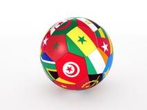 Fotboll klumpa ihop sig med sjunker av de afrikanska länderna Royaltyfri Fotografi