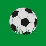 Fotboll klumpa ihop sig på gräset Arkivfoto