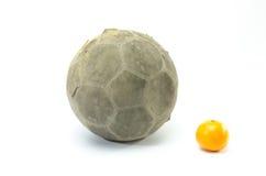 Fotboll med apelsinen på bakgrund Royaltyfri Fotografi