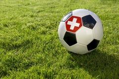 Fotboll med flaggan royaltyfria bilder