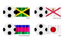 Fotboll med Jamaica, Bailiwick av den Jersey, Kuban och Japan flaggan Royaltyfri Bild