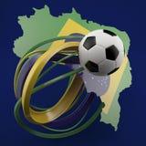 Fotboll mot den gröna Brasilien översikten Royaltyfria Bilder