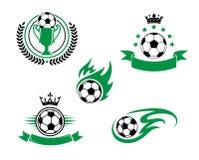 Fotboll- och fotbolldesignbeståndsdelar Royaltyfria Foton