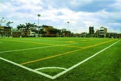 Fotboll- och fotbollfält arkivbild