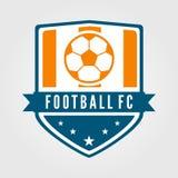 Fotboll och fotbollslagemblem med modern och plan stil vektor illustrationer