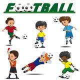 Fotboll och fotbollsspelare från olika lag vektor illustrationer