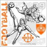 Fotboll och fotbollsspelare plus emblem för sport Royaltyfria Bilder