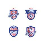 Fotboll- och fotbollvektor Logo Template Arkivfoton