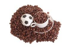 Fotboll och kaffe två Royaltyfria Bilder