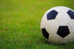 Fotboll på fält av grönt gräs Arkivfoton