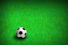 Fotboll på grönt gräs Arkivfoton
