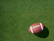 Fotboll på lämnat sporttorvagräs som metas Royaltyfri Fotografi