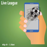Fotboll på mobil Royaltyfria Bilder
